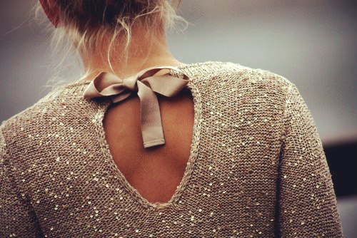 tan sequin bow back sweater